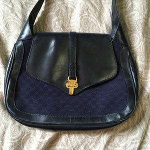 Gucci 70s 80s Navy Blue Logo Vintage Shoulder Bag
